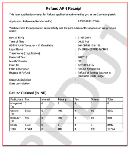 GST refund Receipt